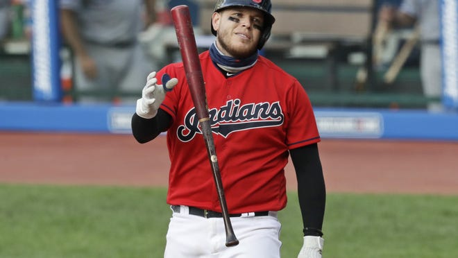 The Indians' Roberto Perez reacts after striking out in the ninth inning against the Kansas City Royals on Saturday.