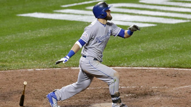 The Royals' Alex Gordon watches his solo home run during the 10th inning of Game 1 of the American League Championship Series against the Baltimore Orioles on Friday in Baltimore.