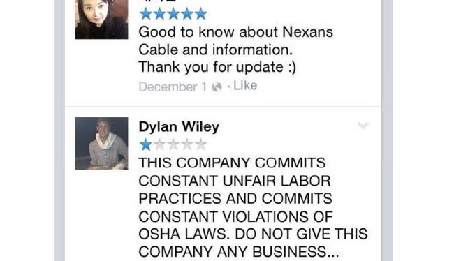 European-based Nexans Network Solutions claims in a defamation lawsuit filed in White Plains that Facebook comments like this labor union official Dylan Wiley have tarnished the company's image.