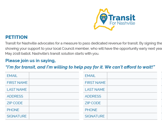A copy of the Transit for Nashville petition aimed