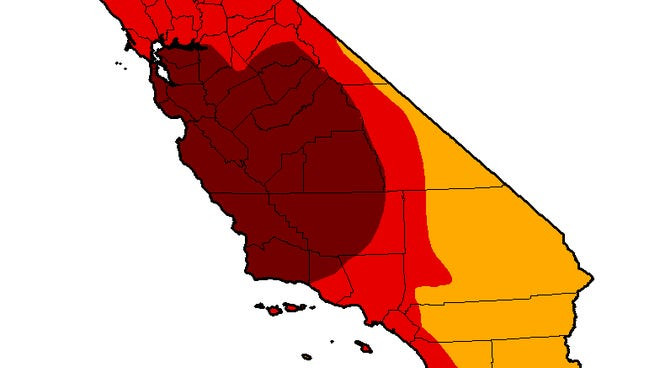 The entire state of California is now in a drought. The worst areas are in dark brown on this map. Lesser levels of drought are in red and orange.