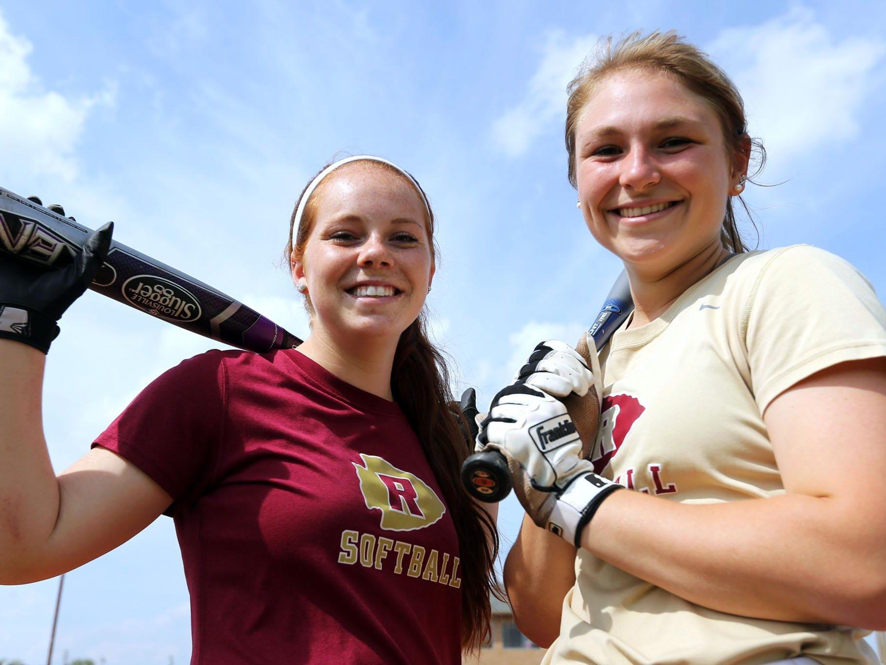 Riverdale senior infielders Madison Woodruff, left, and Sarah Higgins.