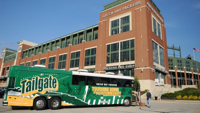 The Green Bay Packers' 10th annual Tailgate Tour leaves Lambeau Field on April 14.