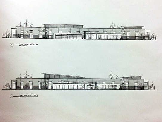 The two front exterior design options for the proposed