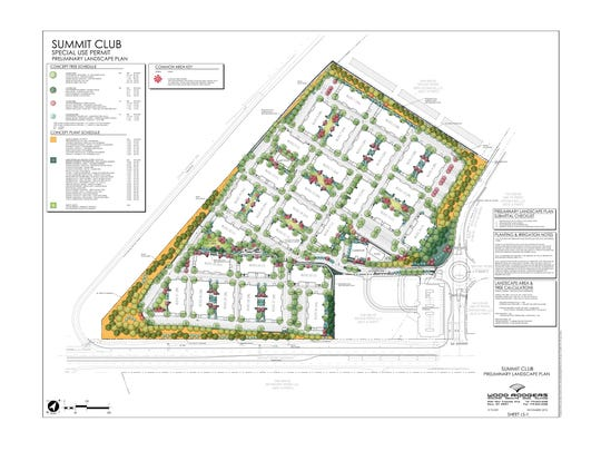 """An overhead view of plans for a 584-unit """"80/20"""" apartment complex that will feature regular and workforce housing near the Summit Sierra shopping center."""