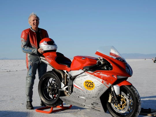 Gary Kohs racing at the Bonneville Salt Flats.