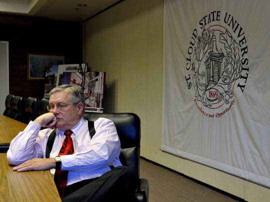 St. Cloud State University President Earl H. Potter III talks about looming budget cuts following a speech at the University in 2010.