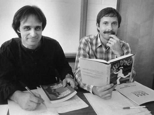 Charlie Hukill, left, newly arrived at McMurry University, with theater director Philip Craik in August 1985 during fall registration. Hukill, technical director, moved to the south side from Hardin-Simmons.
