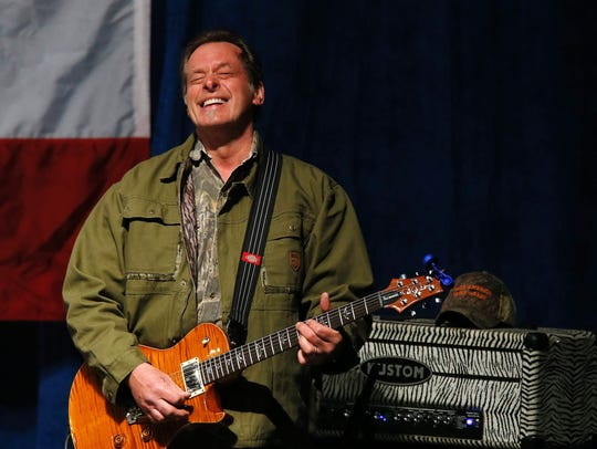 US singer Ted Nugent sings the National Anthem before