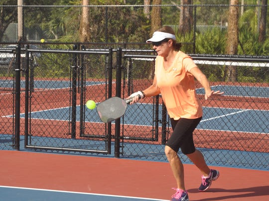 Audrey Bamberger plays pickleball on the new courts at Veterans Park.