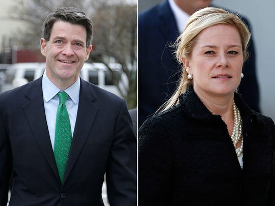 Bill Baroni and Bridget Anne Kelly arrive for sentencing at federal court in Newark in March.