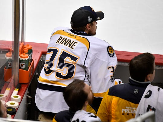 Nashville Predators goalie Pekka Rinne (35) sits on the bench after coming off the ice during the third period of game 2 in the Stanley Cup Final at PPG Paints Arena  Wednesday, May 31, 2017, in Pittsburgh, Pa.