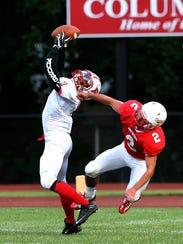 Bound Brook #1 Joshua Ejiogo catches a pass for a touchdown