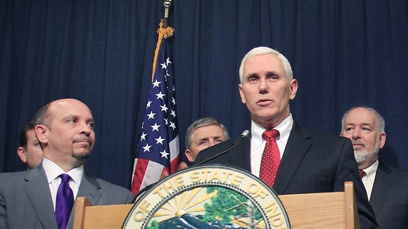 Gov. Mike Pence at a recent news conference.