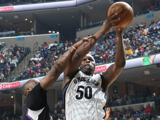 Memphis Grizzlies Zach Randolph, right,  grabs a rebound