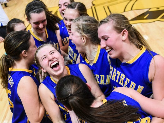 The Norther Lebanon girls team celebrates as Northern
