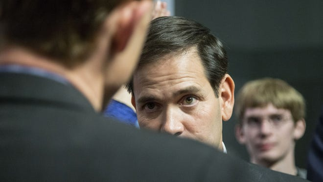 Marco Rubio talks to students at Saint Anselm College in Manchester, N.H.