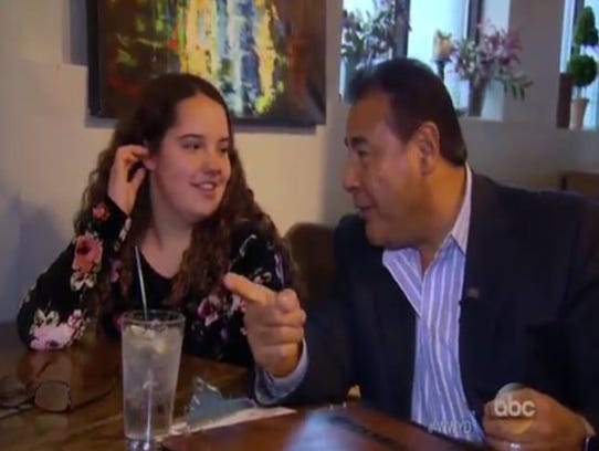 Rory Nicole Olgden and TV host John Quinones from ABC's