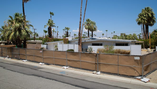 The Palm Springs Historic Site Preservation Board temporarily postponed the demolition of a midcentury modern home in Palm Springs, seen here on Wednesday, July 12, 2017.