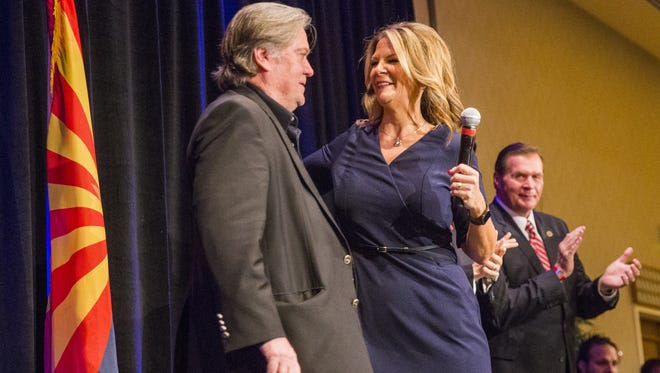 Steve Bannon, former White House chief strategist, introduces Kelli Ward during a Senate campaign kickoff event for Ward at the Hilton Scottsdale Resort on Oct. 17, 2017.