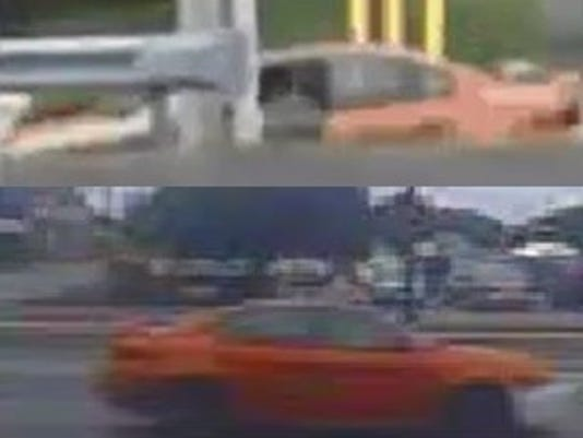 The man who police say robbed a Littlestown bank earlier this week left the scene in an orange car, according to video footage from police.