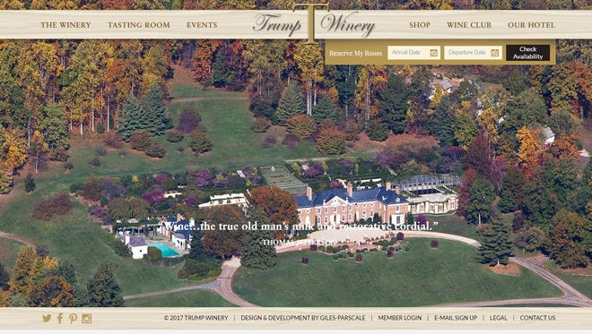 A screenshot of the Trump Winery's website.