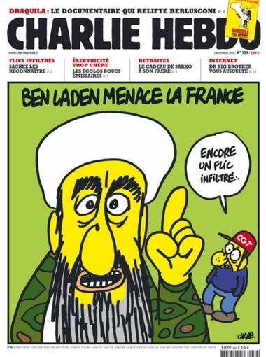 """(Osama) bin Laden threatens France"" (Photo: facebook.com/pages/Charlie-Hebdo-Officiel/106626879360459)"