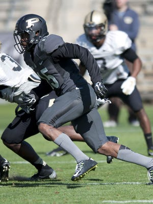 Purdue cornerback Anthony Brown wearing the alternate anthracite gray uniform at the April 11 jersey scrimmage