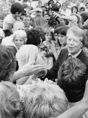 Presidential candidate Jimmy Carter meets Iowans during