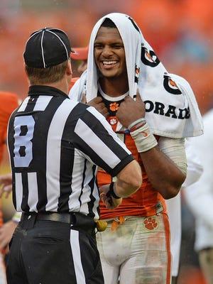 Clemson quarterback Deshaun Watson jokes with a referee late in the Georgia Tech game on Oct. 10.