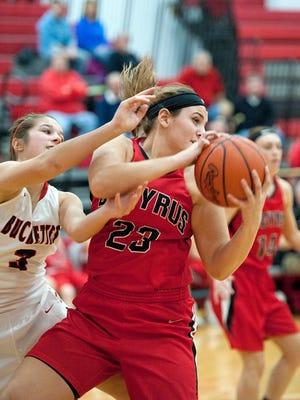 Kelci Simms of Bucyrus (23) and Jenna Karl of Buckeye Central (3) have been named the All-Telegraph-Forum Co-Players of the Year for the 2015-16 girls basketball season.