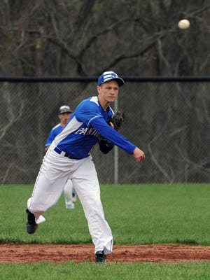Southeastern's Owen Diehl throws a runner out from his shortstop position earlier this season against Washington Court House.
