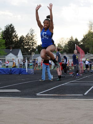 Chillicothe's Tanea Cousins participates in the long jump event during last week's Cavalier Invitational at Herrnstein Field. Cousins signed with Alcorn State University last week.