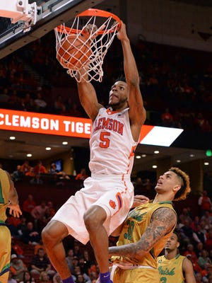 Clemson's Jaron Blossomgame scores two of his 30 points in the Tigers' six-point loss to Notre Dame on Feb. 8.
