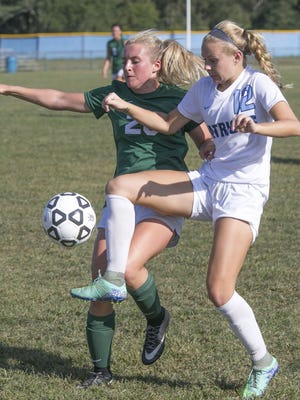 Girls soccer Colts Neck at Freehold Twp. Colts Neck #20 Tara Walenczyk (left) battles with Freehold Township's #12 Alyssa Reszkowski —September 13, 2016-Freehold Township, NJ