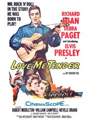 """Love Me Tender,"" a 1956 black-and-white Western musical,"
