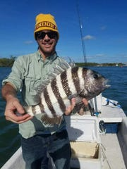 Chris Badolato of Indialantic shows off a sheepshead that hit a live shrimp on New Year's Eve in Sebastian Inlet.