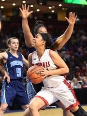Wade Hampton's Erin Dillard powers her way to the basket in the Generals' 49-38 win over Dorman in Saturday's Class AAAAA Upper State final.
