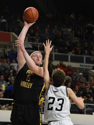 Paint Valley's Dylan Swingle shoots during the Bearcats' Division III district semifinal contest against Oak Hill at the Convocation Center. Swingle was named the AP's Division III Southeast District Co-Player of the Year.