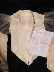 An early mock-up of the bodice for Holly Gilmer Collumns' wedding dress, which her mama, Peggy Gilmer, made for her - along with a sketch by Holly.