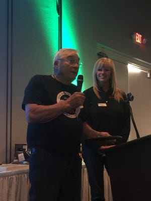 """David """"Whimpy"""" VanGorder, who has volunteered at every Mercury National Walleye Tournament at Walleye Weekend, was given the 2017 Walleye Plate Award."""