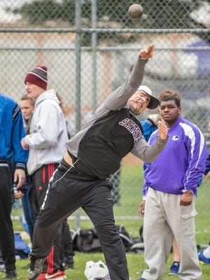 Lakeview's Michael Miller warms up in the shot put during the All-City Meet on April 21.