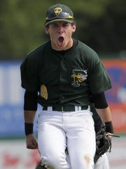 Green Bay Preble standout Griffin Summers leaps in excitement after a state quarterfinal win over Middleton last season.