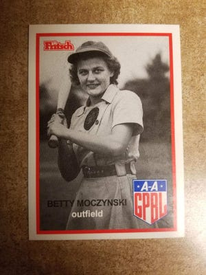 """Betty Jane """"Moe"""" Moczynski played for the Rockford Peaches All American Girls baseball team in 1943."""