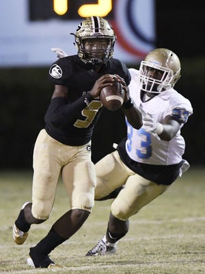 Junior quarterback Trey Houston (9) and the Greer Yellow Jackets will host South Aiken in a Class AAAA second-round playoff game Friday night.
