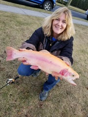 Virginia Murphy, Toms River, with a golden trout caught