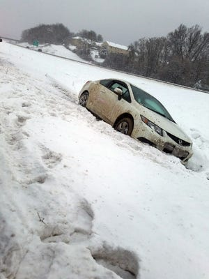 Interstate 64 in Waynesboro city limits on Wednesday, with a car disabled.
