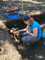 Allison Smith, a fifth-year PhD  student at FSU, takes a break to greet a canine visitor to the Cosa Excavations.