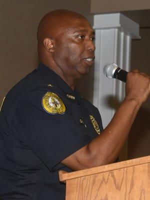 Chief Donald Thompson speaks at an Elderly Awareness Seminar.