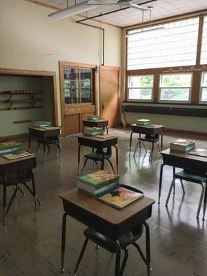 Classrooms at St. Leo School have been set up for the start of the 2020-21 academic year, according to this photo from the school's Facebook page, with student desks spaced 6 feet apart to comply with COVID-19 social distancing recommendations.